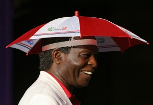 Lou Brock wearing the Brockabrella recently